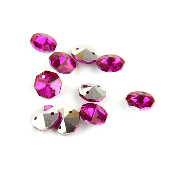 2000/lot 14mm Colorful Sliver Back Crystal Octagon Beads In 2 Holes For  Crystal Chandelier Parts Home Decoration 2000 lot 14mm colorful crystal glass beads in 1 hole for crystal chandelier parts home decoration