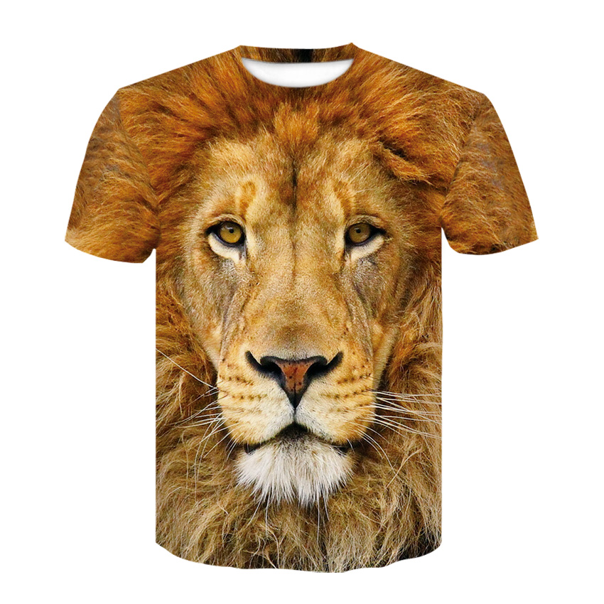 Men's T-shirt 3D printing fashion Vivid pattern lion head tops 2019 breathable fun short-sleeved T-shirt casual men's clothing