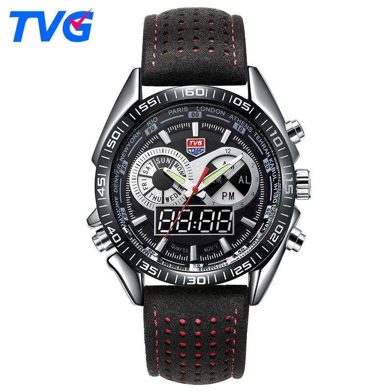 TVG Κορυφαία μάρκα ρολογιών μάρκας για άνδρες αδιάβροχο αθλητικό ρολόι LED ψηφιακό ρολόι χαλαζία Man Δερμάτινο στρατιωτικό ρολόι Relogio Masculino