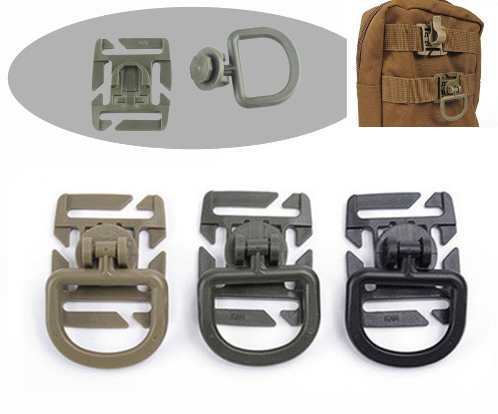 1PC MOLLE Clip Carabiner Rotatable Portable D-Ring Plastic Buckle Clip Backpack Bag Strap Belt Webbing Fixed Hook EDC Tool