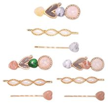 3Pcs/Set Women Fresh Style Alloy Hairpin Candy Color Resin Heart Stone Hair Clip Faux Pearl Jewelry Side Bangs Accessories