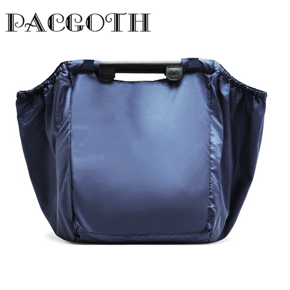 PACGOTH Reusable Bag Shopping Grocery Bag Foldable Tote Supermarket Large Capacity Shopping Trolley Grab Storage Bag 58x40cm,1PC