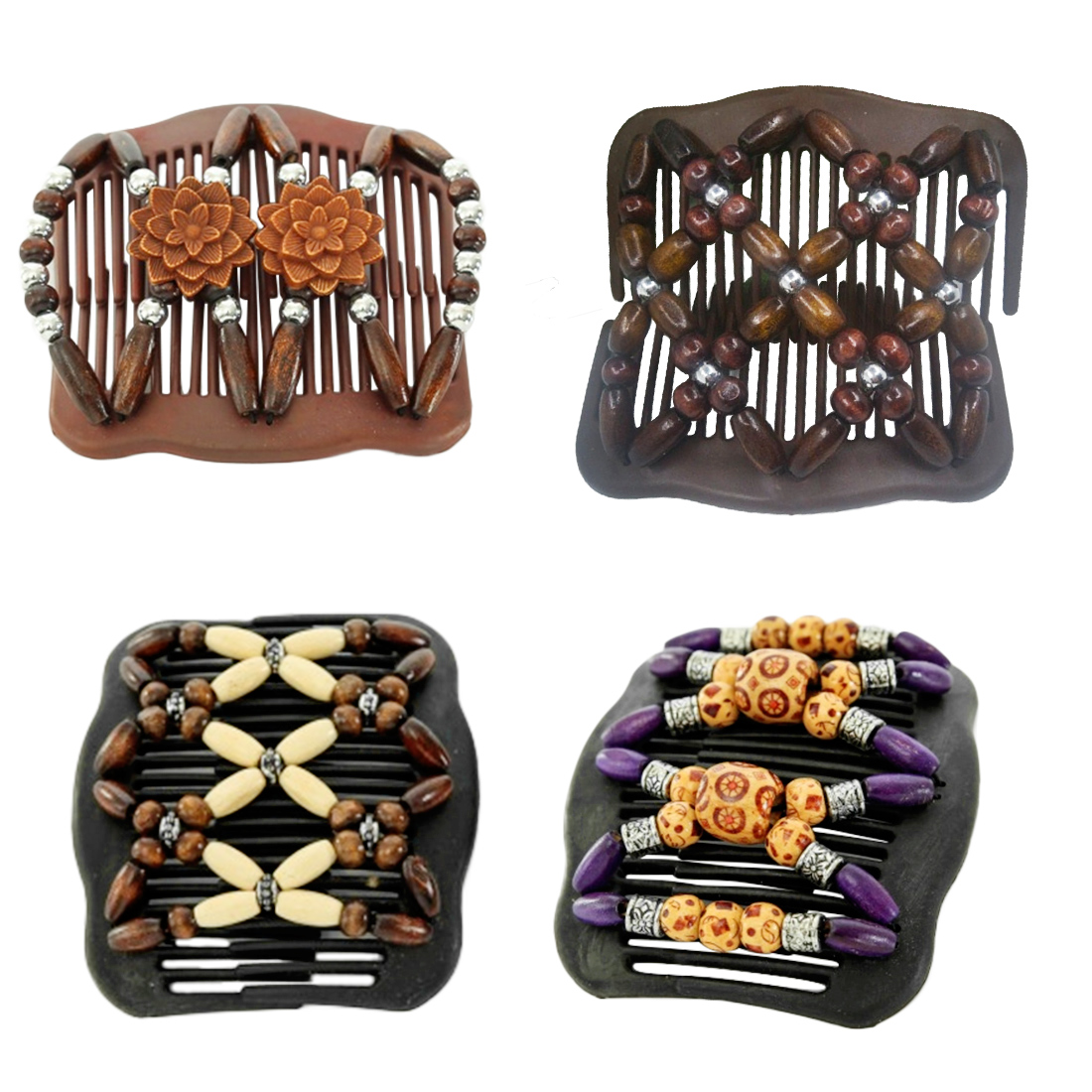 Image 2 - Wedding Ethnic Fashion Vintage Magical Retro Double Beaded Hair Comb Clip Beads Elasticity Hairpin Stretchy Hair Combs Pins-in Combs from Beauty & Health