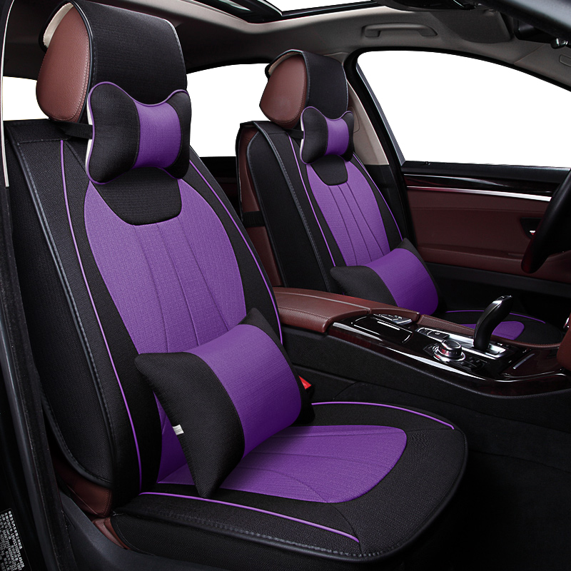 KOKOLOLEE Flax Car Seat Covers For Ssangyong Kyron 2013 durable breathable for Kyron 2012-2011 auto accessories car styling universal pu leather car seat covers for toyota corolla camry rav4 auris prius yalis avensis suv auto accessories car sticks