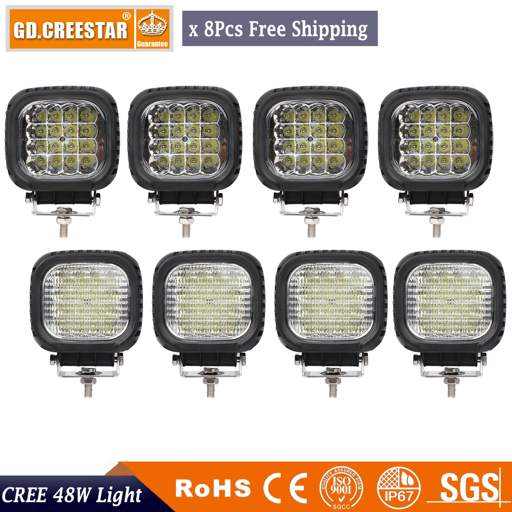 ФОТО 8PCS 5inch 48W LED Work Light Square for Indicators Motorcycle Driving Offroad Boat Car led Tractor Truck 4x4 SUV ATV 4WD 12V