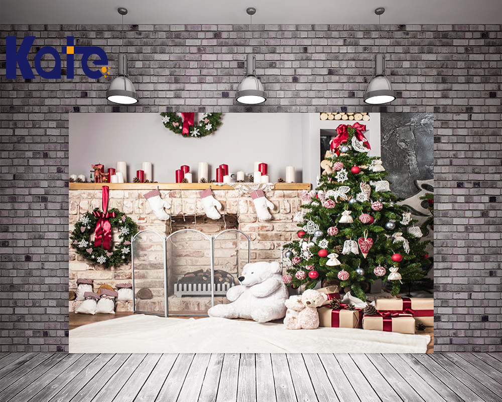 Kate Christmas Backdrop Photography Brick Wall White Bear Tree Box Background White Floor For Children Photo Studio Background christmas tree backdrop photography allenjoy wooden carpet fireplace xmas tree background photographic studio vinyl camera