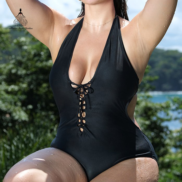 2018 Women One Piece Swimsuit sexy monokini push up Beach Swimsuit Female Bandage bathing suit large sizes black swimwear Badpak 3