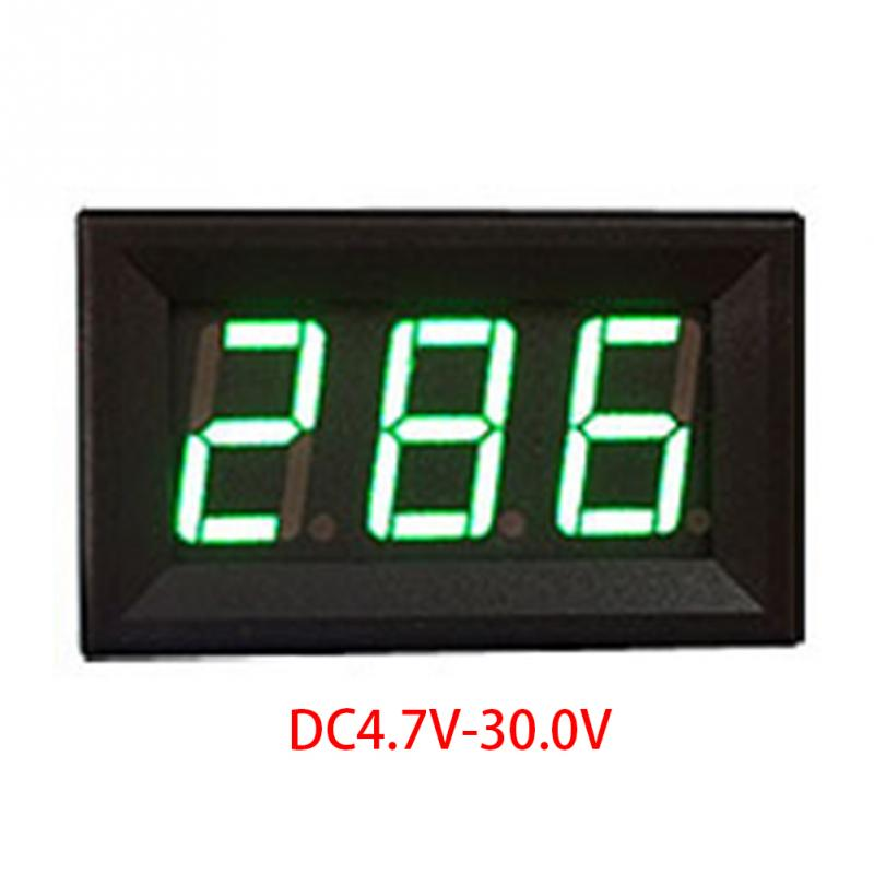 LED Digital Voltmeter With Reverse Connection Protection Mini 2 Cables DC4.5V-30.0V Voltmeter 0.56in