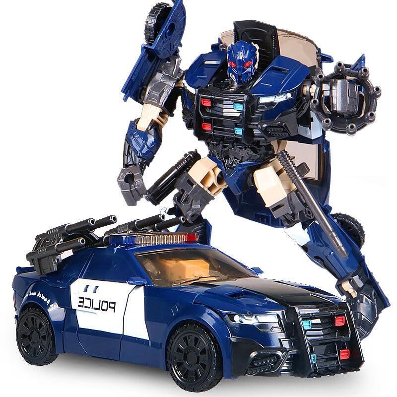 G1 바리케이드 HBM 변환 TF5 경찰 자동차 액션 피규어 보이저 대형 로봇 모델 장난감 재고 액션 피겨