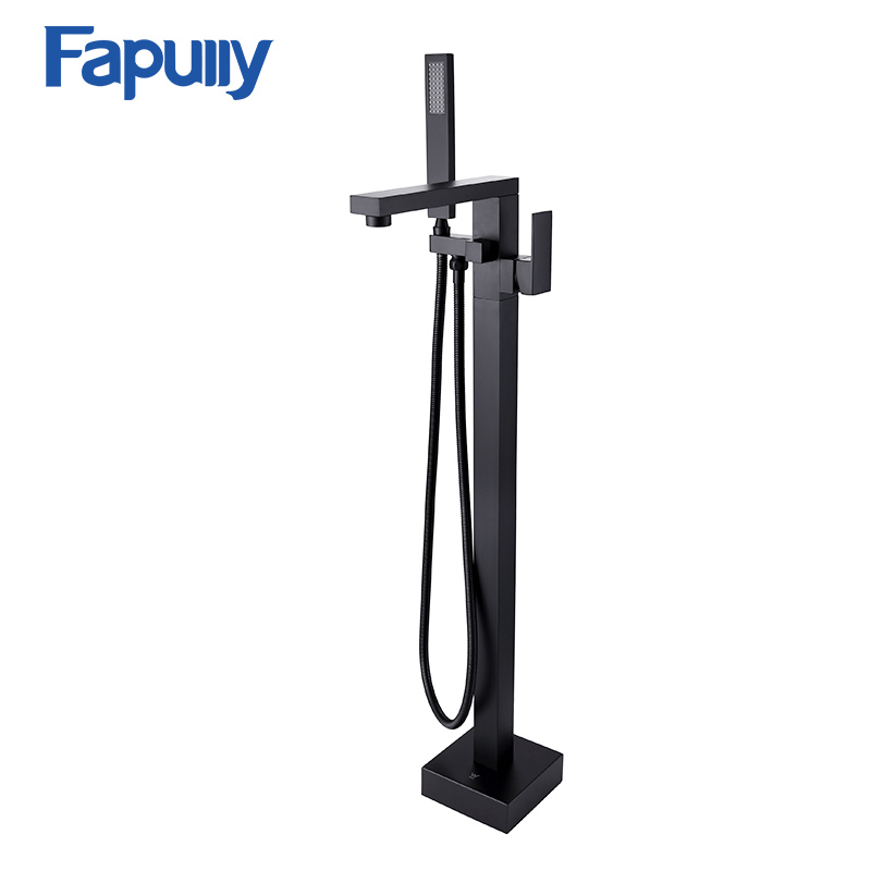 Fapully Floor Mount Bathtub Filler Mixer Taps Black Oil Rubbed Bronze Freestanding Bath Spout Shower Diverter Bath Tub best quality oil rubbed bronze black bath