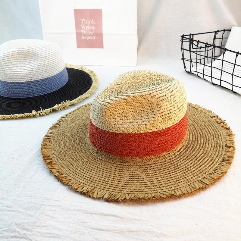 Kopfbedeckungen Für Herren 01904-duxiao4663 Neue Sommer Farbe Patchwork Fedoras Hut Im Freien Männer Frauen Freizeit Panama Jazz Kappe