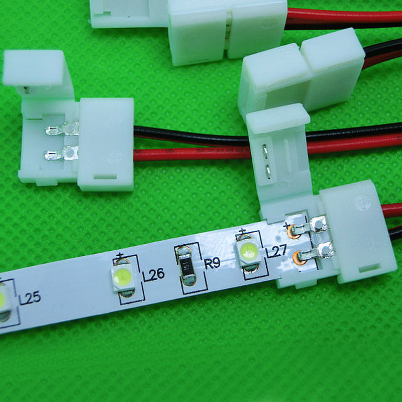 10pcs/lot 8mm 2 pin free solder LED Connector Cable Wire PCB ...