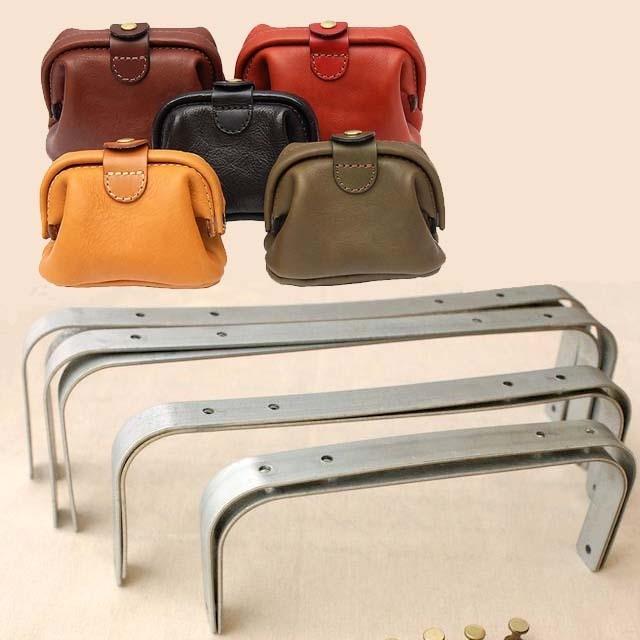 30cm Manual Leather Wear Doctor Gold Leather Bag Metal Frame Screw Clutch Frame Arc Handcraft Vintage Handbag Diy Accessories