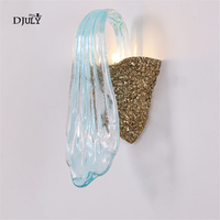postmodern copper Water flow art glass wall lamp for living room aisle luxury villa bedroom lamp hotel led wall light fixtures