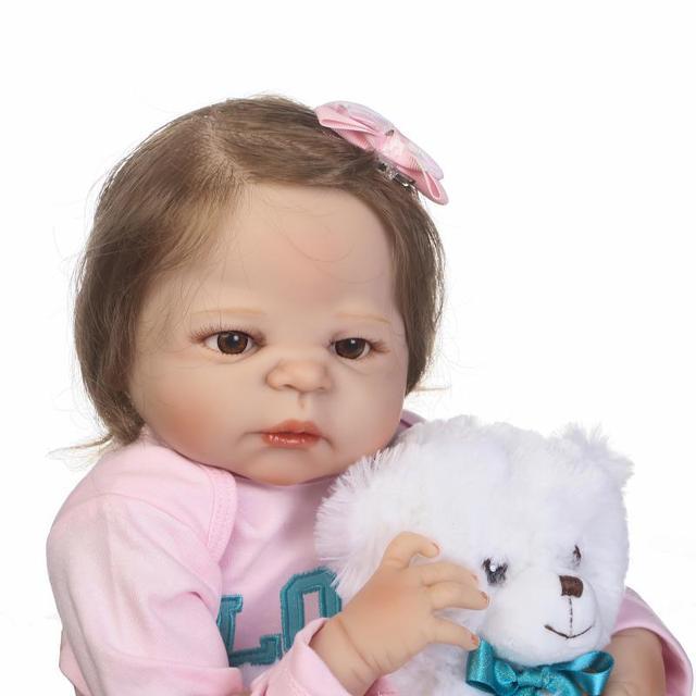 57cm réel corps complet silicone reborn victoria bébé poupées nouveau-né fille fibre cheveux avec ours jouet enfants cadeau bebe bonecas