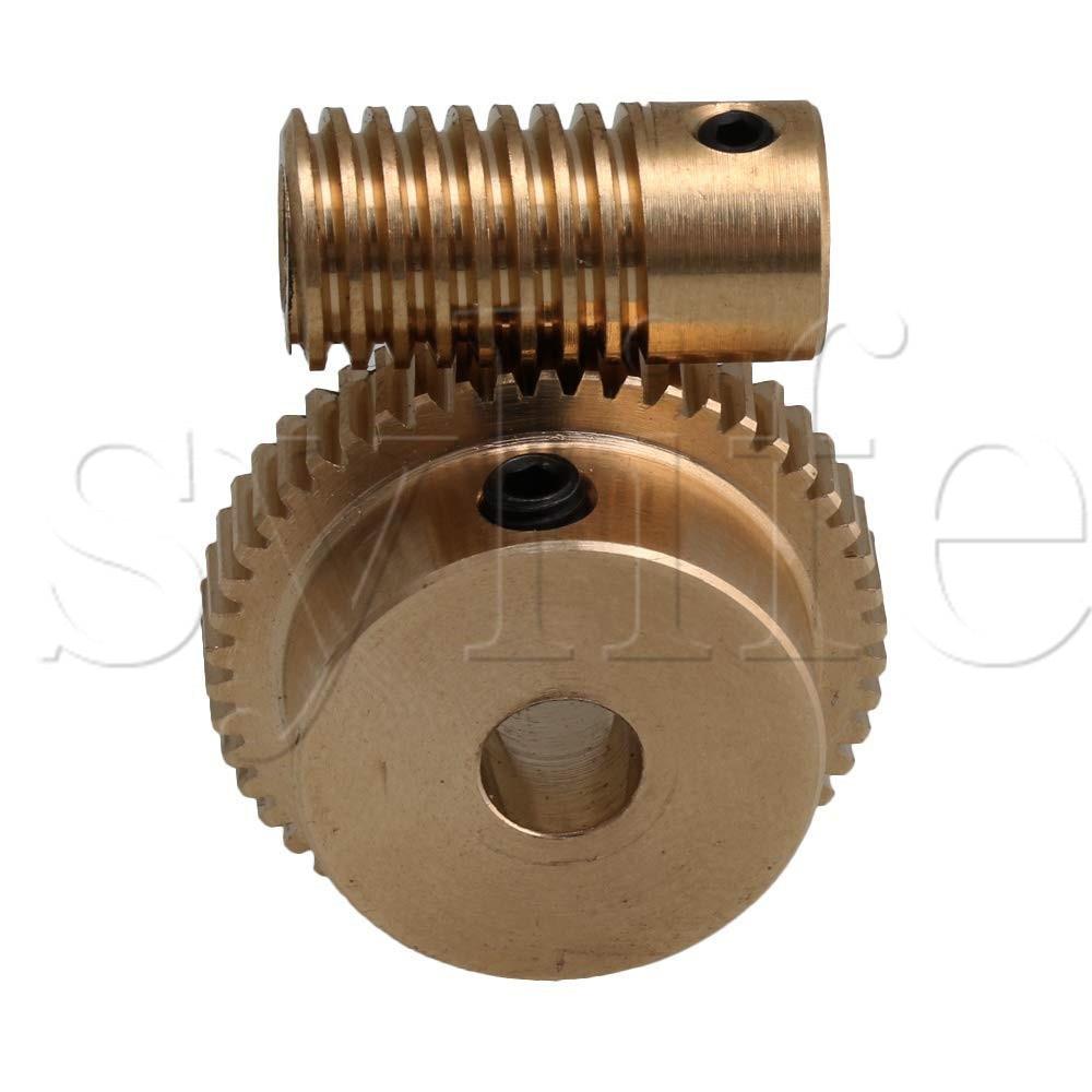 Yellow 0.5 Modulus 50T Brass Worm Gear Wheel + 5mm Hole Dia Brass Gear Shaft 1:50 Reduction Ratio
