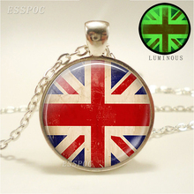 British Flag Luminous Necklace Union Jack Pendant Glass Cabochon Jewelry Glow In The Dark Statement Necklace luminous glass flower pendant necklace