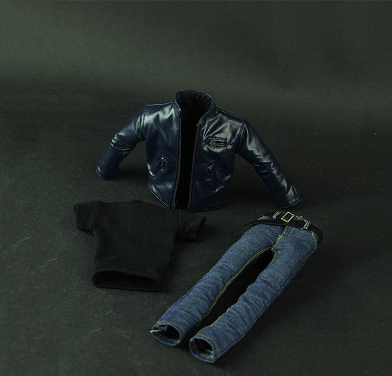 1/6 Blue leather Jacket Suits  Shirt Jenans Clothes Set For 12inch Male Action Figure