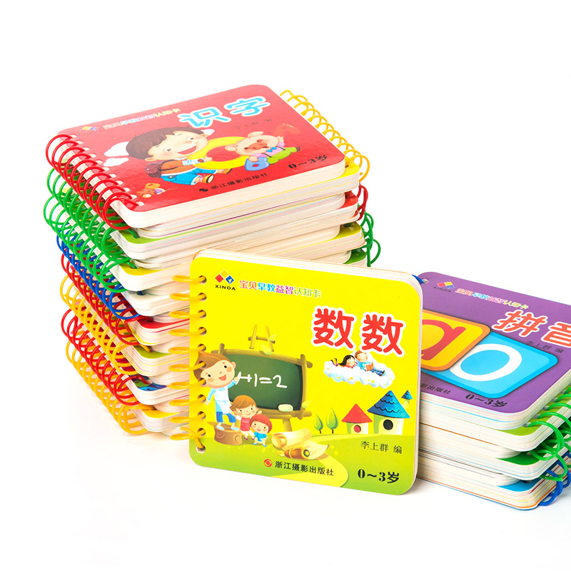 10pcs/set New Early Education Baby Preschool Learning Chinese Characters Cards With Picture ,Chinese Book With Pinyin English