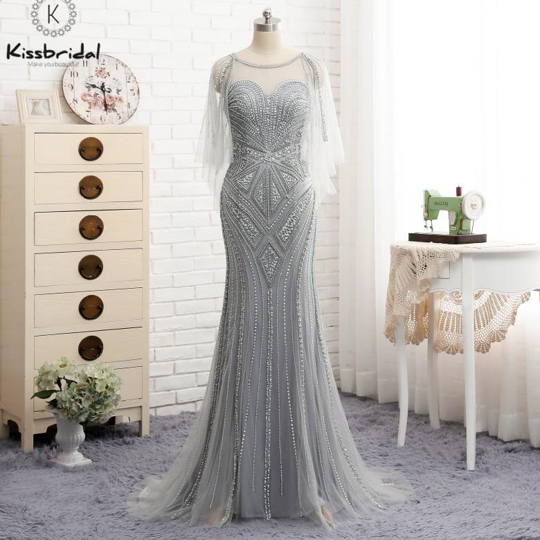 abiye gece elbisesi Elegant Beading Mermaid   Evening     Dress   Long Illusion Sweetheart Gray Prom Party   Dresses