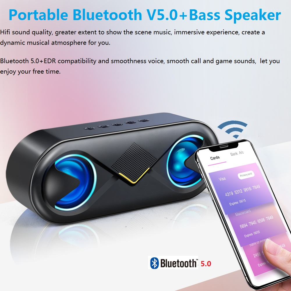 Image 3 - TOPROAD Portable Bluetooth 5.0 Speakers 10W Wireless Stereo Bass Hifi Speaker Support TF card AUX USB Handsfree with Flash LED-in Portable Speakers from Consumer Electronics
