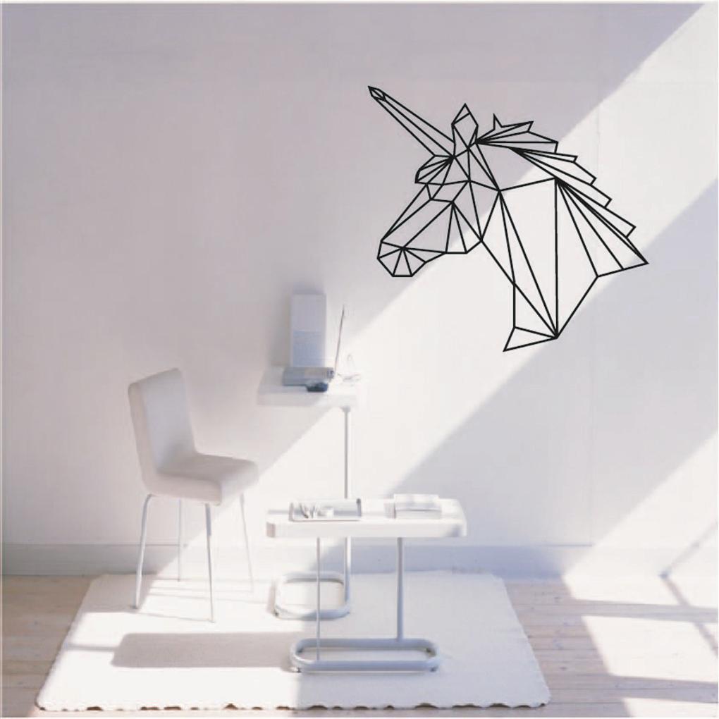 Diy Home Decor Geometric Unicorn Wall Sticker Removable Horse Head Vinyl Decals China Mainland