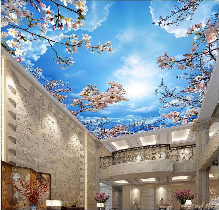 3d Cherry Blossom Wallpaper Custom Photo Background 3d Ceiling Murals Wallpaper Non