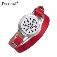 EVERLEAD Red Leather Bracelet Essential Oils Work Health Locket Stainless Steel Pretty Lady Diffusser Gift Bracelets