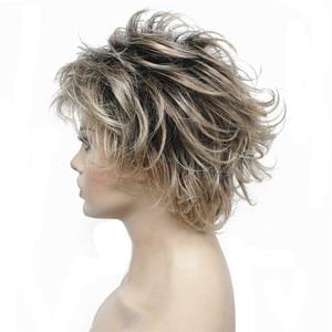 Image 2 - StrongBeauty vrouwen Synthetische Pruiken Gelaagde Korte Rechte Pixie Cut Bloned Mix Natura Volledige Pruik