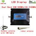 Mais novo 2G 3G reforço de Sinal de LCD! GSM 900 3G 2100 Telefone Móvel Impulsionador Repetidor Amplificador 3G GSM + antena + cabo Para A Rússia