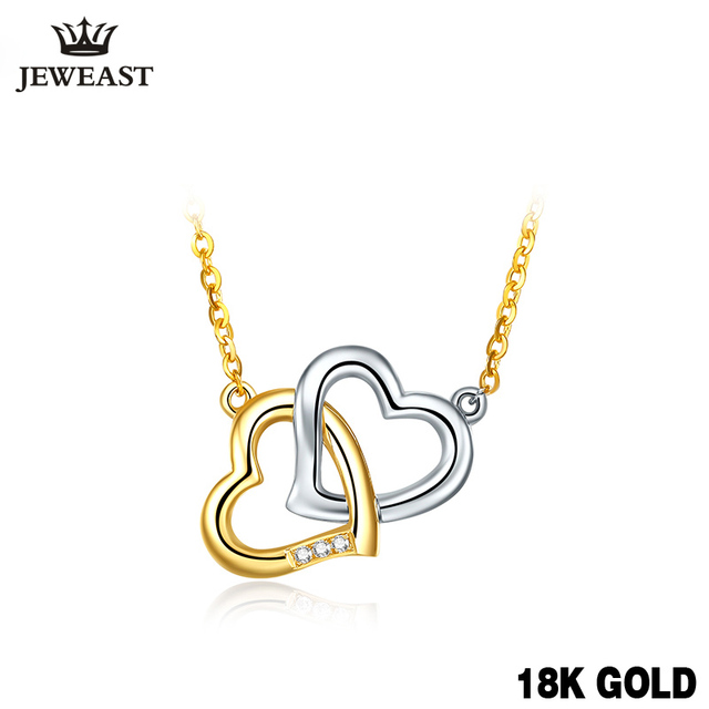 18K Gold Diamond Necklace Pendant Love Heart Lock Chain charm Gift Rose real natural pure women girl lover couple wedding party 1