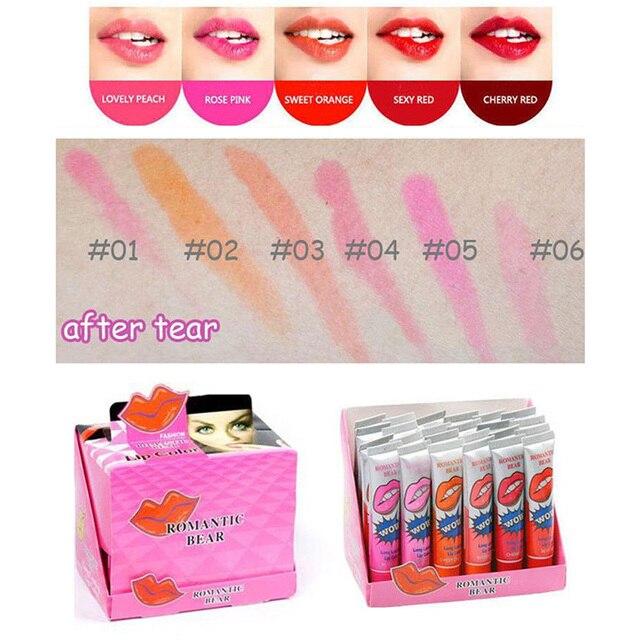 2020 Sexy 1PCS Amazing 6 Colors Waterproof Liquid Makeup Lip Stick Long Lasting Lipstick Tint Tear Pull Lip Gloss Lipgolss TSLM1 5