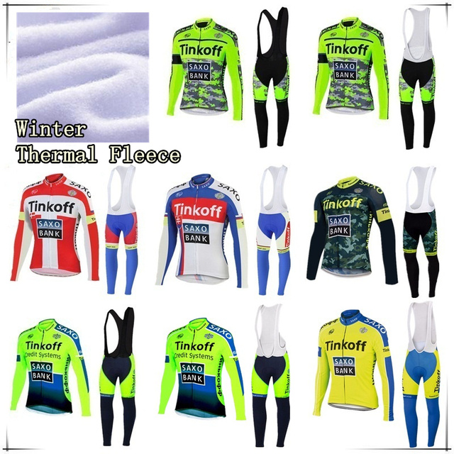 73a67b849 2016 Tinkoff Saxo Winter Thermal Fleece Pro Team Long Sleeve Cycling Jersey Ropa  De Maillot