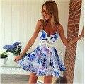 Женщины мини рукавов летнее платье печати Тонкий волновая картина пляж повседневный партия спагетти ремень платье 2016 новая мода плюс размер