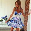 women mini sleeveless summer dress print Slim wave pattern beach casual party spaghetti strap dress 2016 new fashion plus size