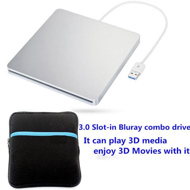 Unidade Óptica portátil USB 3.0 Slot de Carga D-RE Blu-ray Drive Gravador Externo Gravador de CD + saco de Motorista