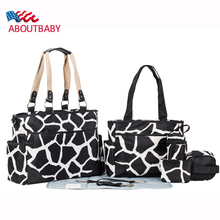 Newest 7 PCS SET Stone Pattern Fabric Multifunctional Large Capacity Durable Nappy Bag Handbag Waterproof Baby