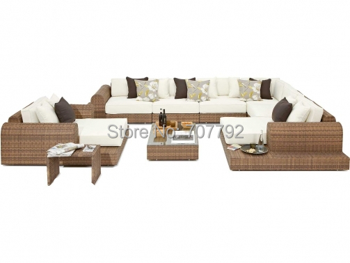 2017 Hot Sale Exclusive Outdoor Poly Rattan 9 Piece Patio Furniture Sofa Set