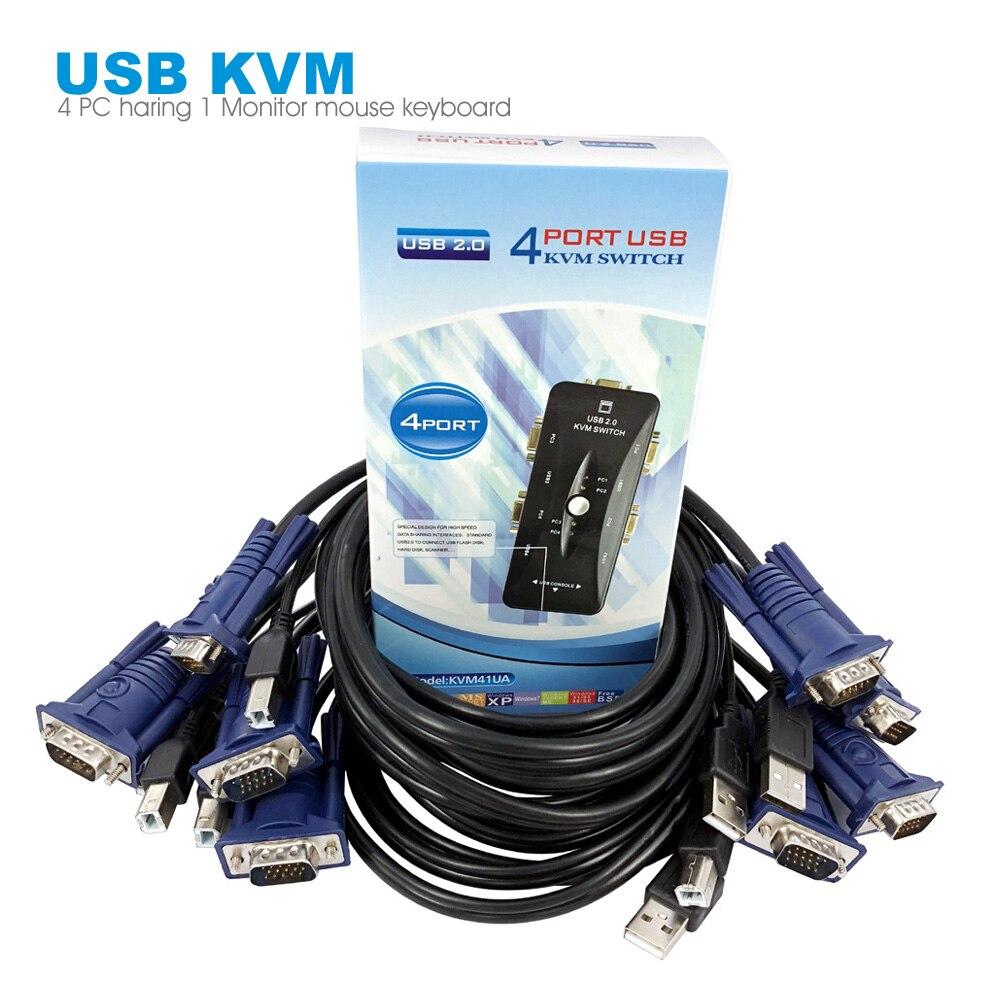 4 ports USB KVM commutateur USB2.0 VGA/SVGA PC partage moniteur boîtier de commutation 1 ensemble clavier souris contrôle 4 ordinateurs outil avec câble