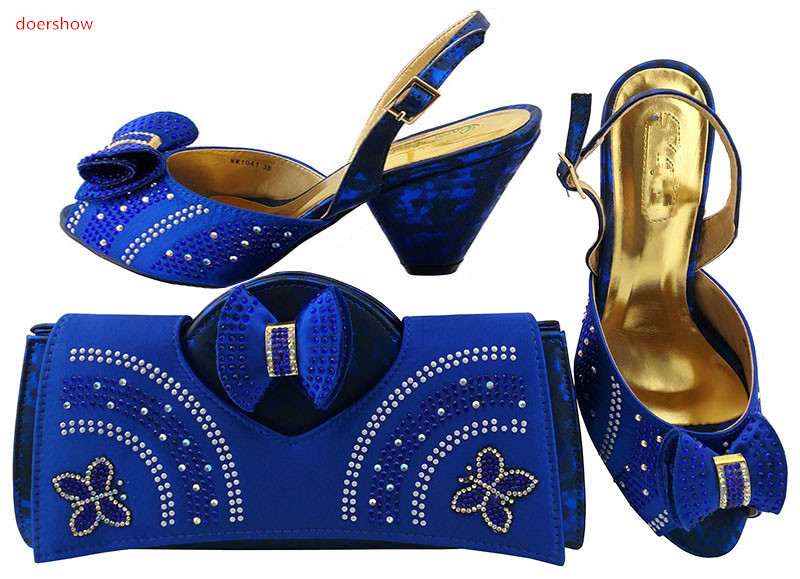 doershow Italian Ladies Shoes and Bag Set Matching Italian Shoe and Bag Set Decorated with Rhinestone Shoes and bags LULU1-31 italian berlitz reference set