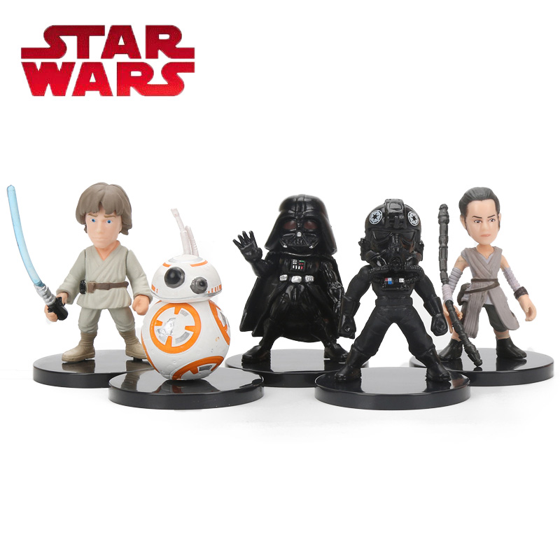 5pcs/set 5.5cm Star Wars Toy BB-8 Rey Tie Fighter Pilot Darth Vader Luke Skywalker PVC Action Figure Set Star Wars Figure Toys star wars 7 darth vader millennium falcon figure toys building blocks set marvel kits rey bb 8 compatible toy gift many types
