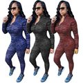 3 Colors Autumn Elegant Women Rompers Jumpsuit Winter Outfits Bodysuit Long Sleeve Front Zipper Sexy Casual Bodycon Playsuit