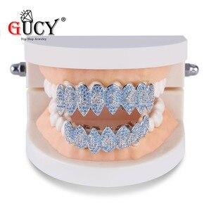 Image 3 - GUCY ледяной хип хоп 1414 зубы Grillz Bling AAA кубический циркон серебряный цвет восемь топ и низ вампир грили набор для подарка
