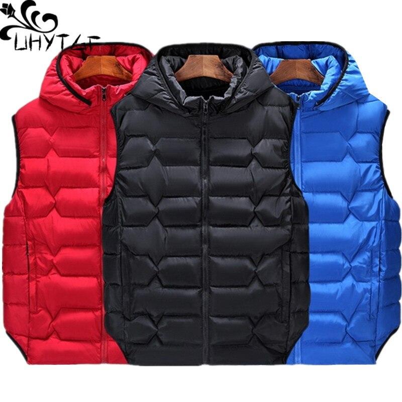 UHYTGF Oversized Vest Women Winter Parker Cotton Top Outerwear Ladies Loose Short Hooded Warm Waistcoat Parker