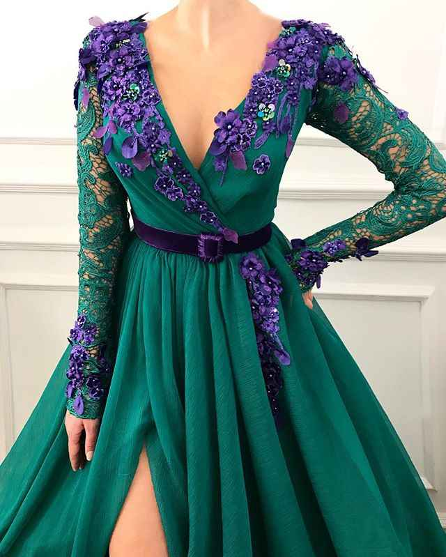 Sofuge Sexy Dark Green Avondjurken Lange Mouwen Lace Robe de Soiree Fashion v-hals Bloemen Voor Split Prom Party jassen