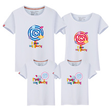 New family tshirts summer tops family look mom dad baby matching clothes mommy and me t shirts short sleeve boys girls shirts cheap CBNHR TIMES T-Shirts Fashion Fits true to size take your normal size COTTON cartoon casual cute fashion soft cotton Print Lollipops