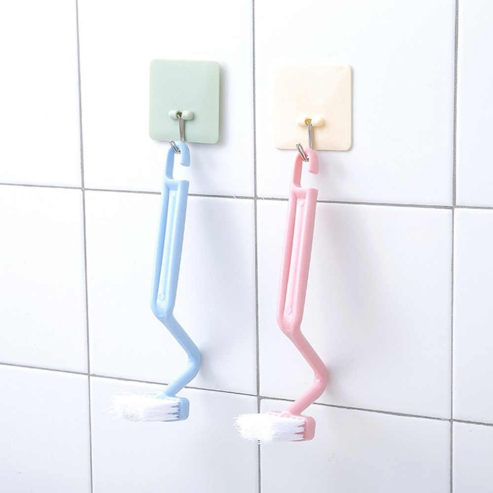 Forma s portátil escova de toalete purificador mais limpo casa casa chuveiro acessórios da sala escova purificador curvo dobra punho