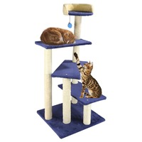 4 Layer 108cm Cat Toy House Bed Hanging Balls Kitten Furniture Scratchers Solid Wood for Cats Climbing Frame Tree Cat Condos