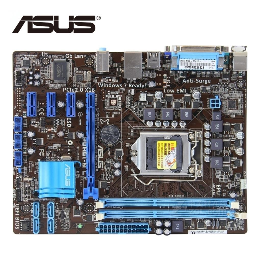 LGA 1155 For Intel H61 ASUS P8H61-M LX 100% PC Computer Motherboard DDR3 16G P8H61 M LX Desktop Mainboard PCI-E X16 VGA Used