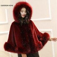 New Autumn Winter Cape Cloak Coat Imitation Fox Fur Shawl Female Bat Type Plus Size Thick Warm High Quality Women Poncho Coat